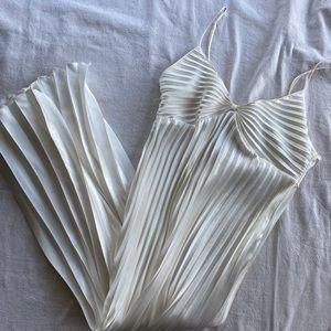 Vintage Slip Dress Cream Pleated
